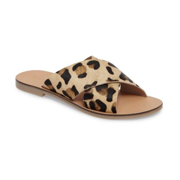 Women's Topshop Holiday Cross Strap Sandal ($45) ❤ liked on Polyvore featuring shoes, sandals, leopard, cross strap shoes, topshop sandals, topshop shoes, leopard sandals and leopard print sandals
