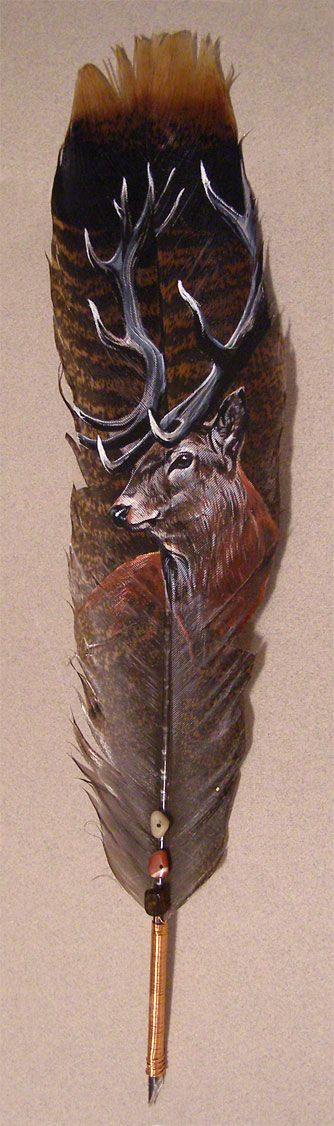 ☆ Red Stag Feather Painting :¦: By Heather (Schumacher) Meuser ☆