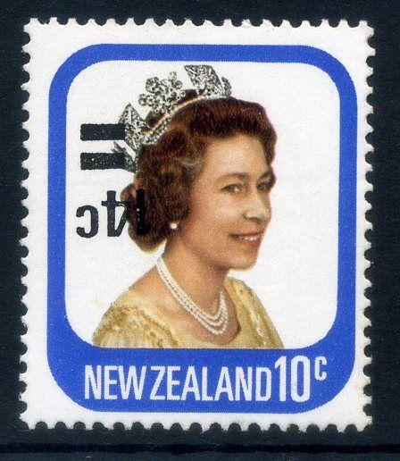 NZ Error 1979 14c on 10c o/p QEII, Rare inverted o/p,