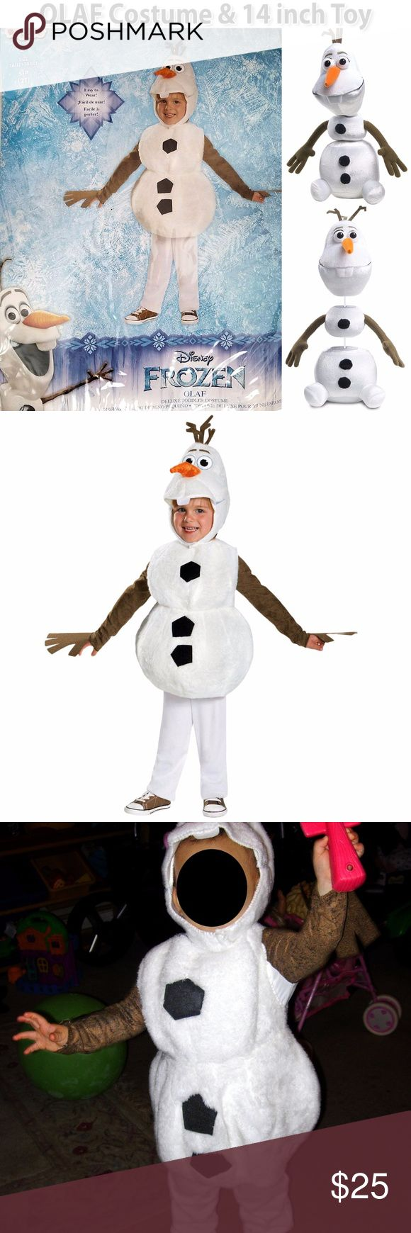 """Disney Frozen Olaf Costume & Toy Disney Frozen Olaf Baby Toddler Size 2T Toddler Costume with 14"""" Pull Apart Talking Olaf This item comes with a jumpsuit with brown stick-like sleeves, snowman foam overlay and soft character headpiece. Costume Condition: Pre-owned, EXCELLENT gently used condition. Worn once! Free of stains, scuffs and damages. Very clean from smoke-free home. Pull Apart & Talkin' Olaf Features:  Pull him apart and put him back together while he says silly phrases! Press…"""