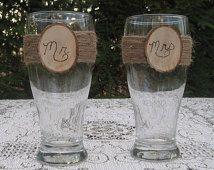 Rustic Beer Pilsners, Wedding Beer Glasses, Rustic Wedding, Mr and Mrs Beer Glasses, Log Slice Beer Glasses, Toasting Glasses, Beer Mugs