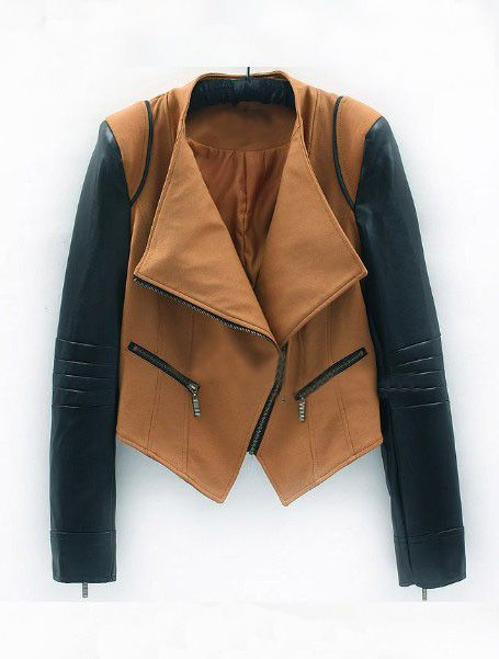 Camel Contrast PU Leather Long Sleeve Zipper Shoulder Pads Coat