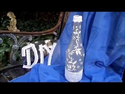 DIY: BASTELIDEE Deko Flasche mit Spitze + Ranke selber machen- UPSYCLING - YouTube