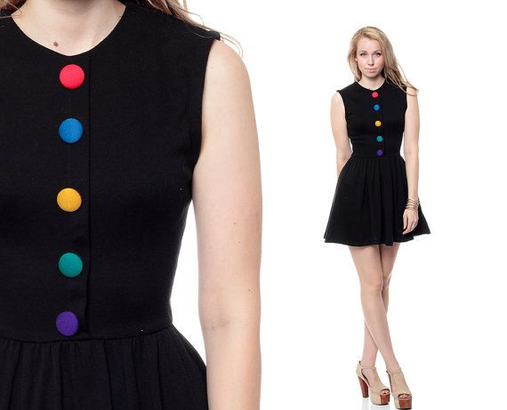 1980s black dress with rainbow buttons