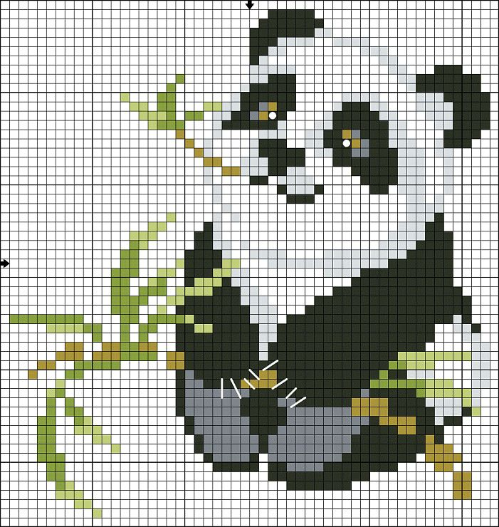 Panda cross stitch pattern.