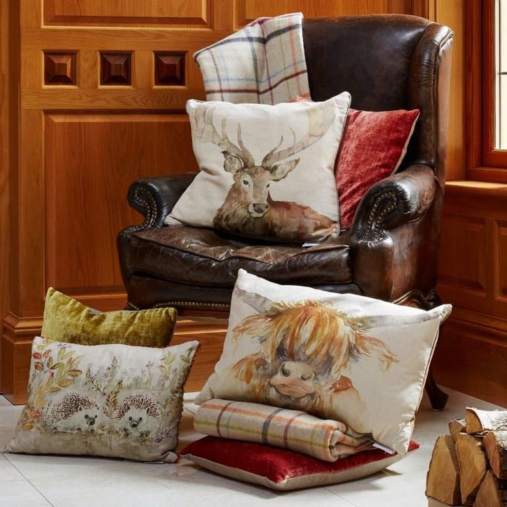 Voyage Maison Stag, Cow & Hedgehog Cushions. Available at www.thegreatbritishhome.com #voyagemaison #thegreatbritishhome #cushion #homedecor #madeinbritain #countrystyle