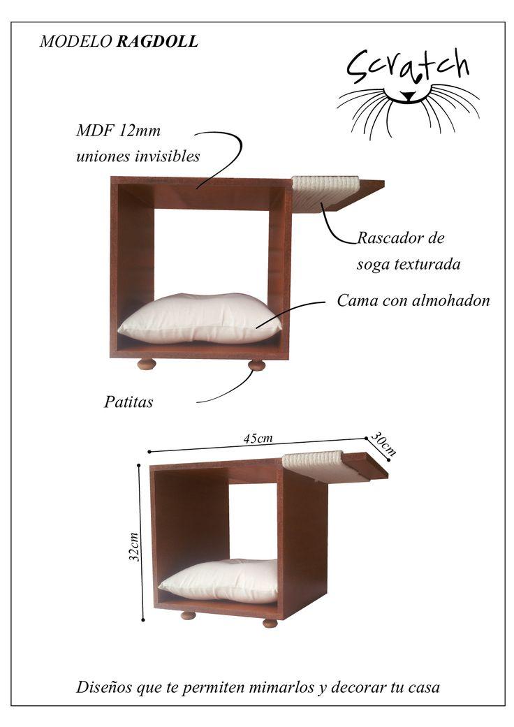 Muebles para gatos. MDF + soga texturada + almohadon