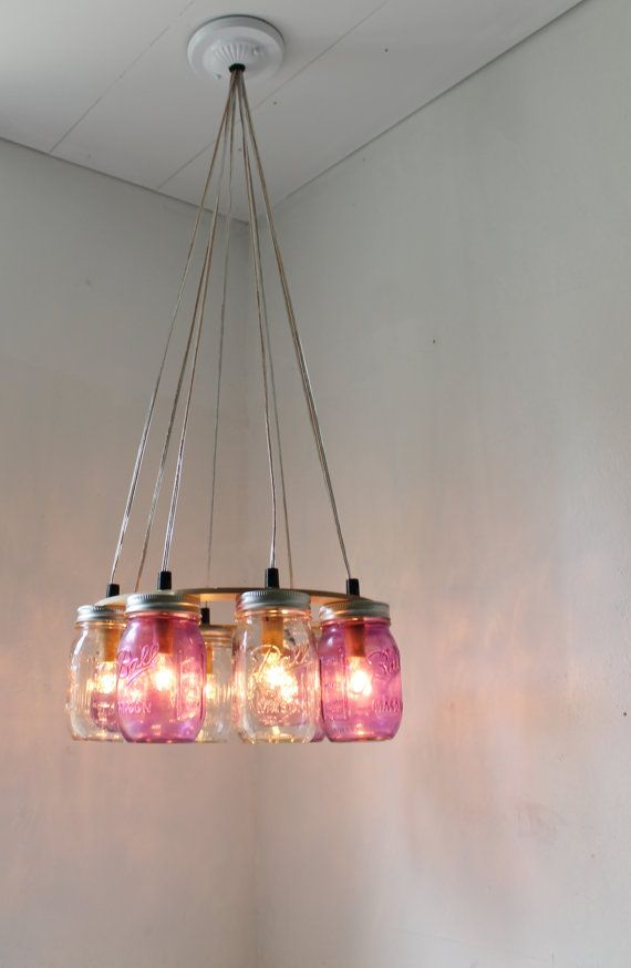 PURPLE Passion MASON Jar Chandelier - Upcycled Hanging Mason Jar Lighting Fixture Direct Hardwire - BootsNGus Lamps Rustic Home Decor