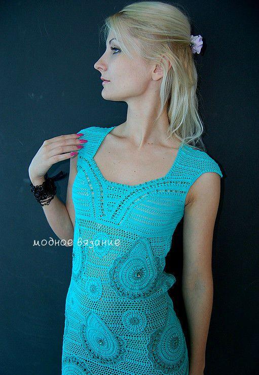 Платье крючком *Турецкий огурец* - Модное вязание