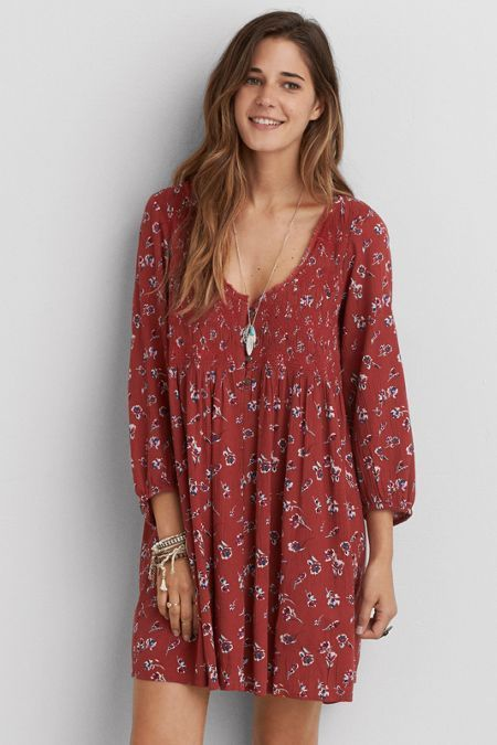 American Eagle Outfitters AEO Smocked Flowy Dress