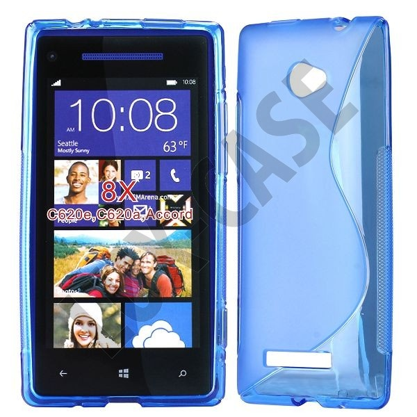 Transparent Blå HTC 8X Deksel
