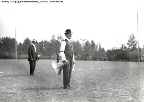 1913 City Electric Light, Heat and Power Company Family Day Picnic, R. A. Brown with megaphone. - Alberta On Record