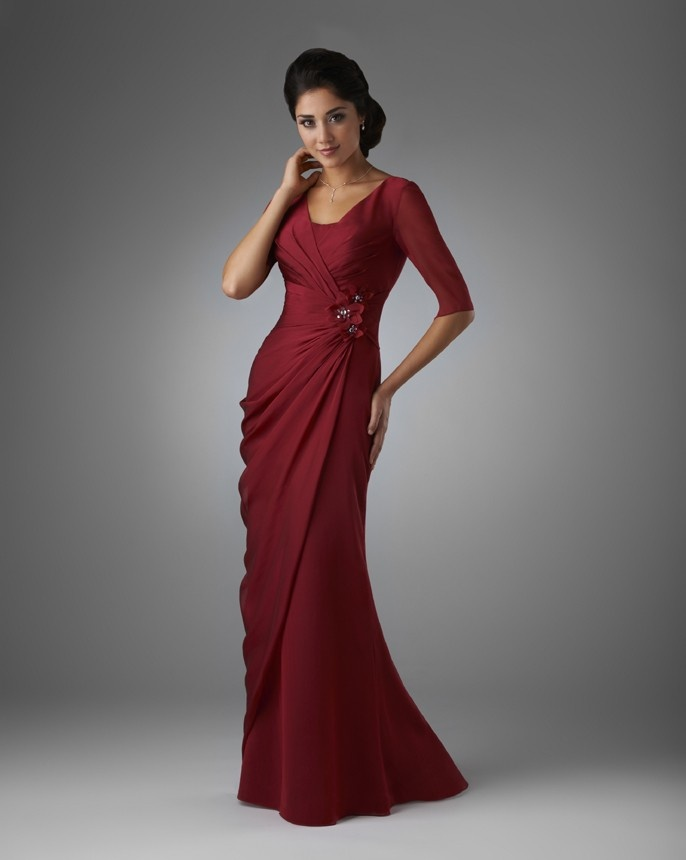 An elegant gown with length sheer sleeves crisscross for Wedding dress with swag sleeves