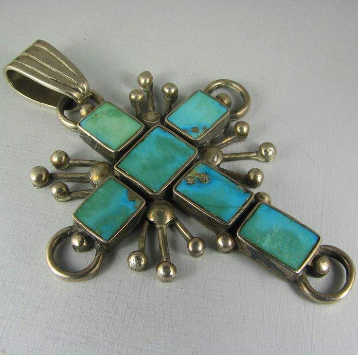 282 best native american crosses images on pinterest american vntg huge pueblo 6 squared blue gem turquoise cross pendant aloadofball Image collections