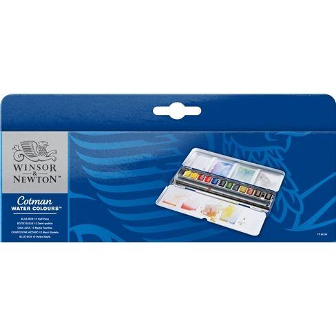 Cotman Water Colours Blue Box - 12 Half Pans
