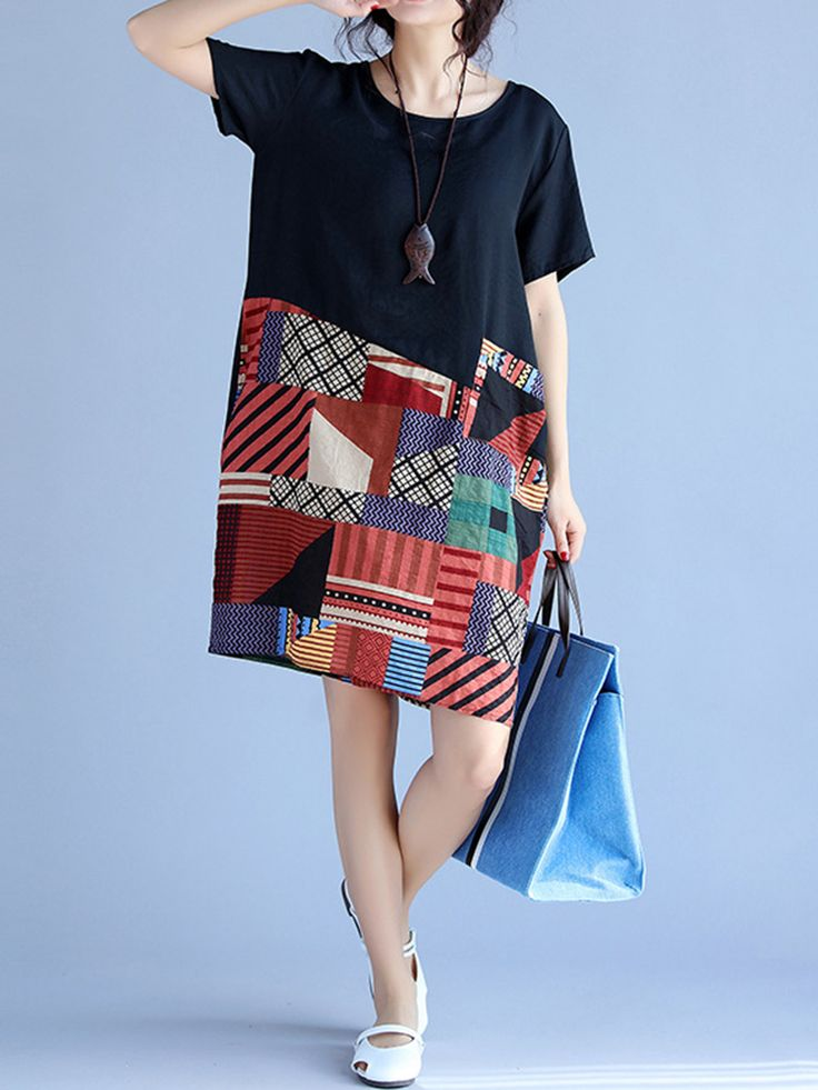 Gracila Women Short Sleeve Print Patchwork Loose Mini Dresses