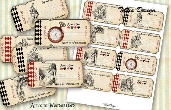 Alice in Wonderland Tickets 4x 2 inch Digital от TaniaDesign