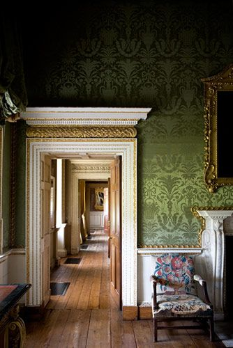 decorology: Quiet, beautiful moments...green wallpaper,vintage wallpaper,statement wallpaper
