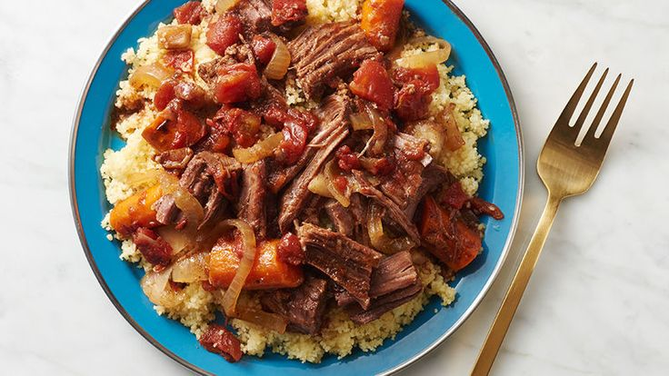 Want to try a Moroccan-style tagine without buying an earthenware tagine pot? You're in luck! A slow cooker does a fine job of braising North African-seasoned chuck roast into a tender beef dinner.