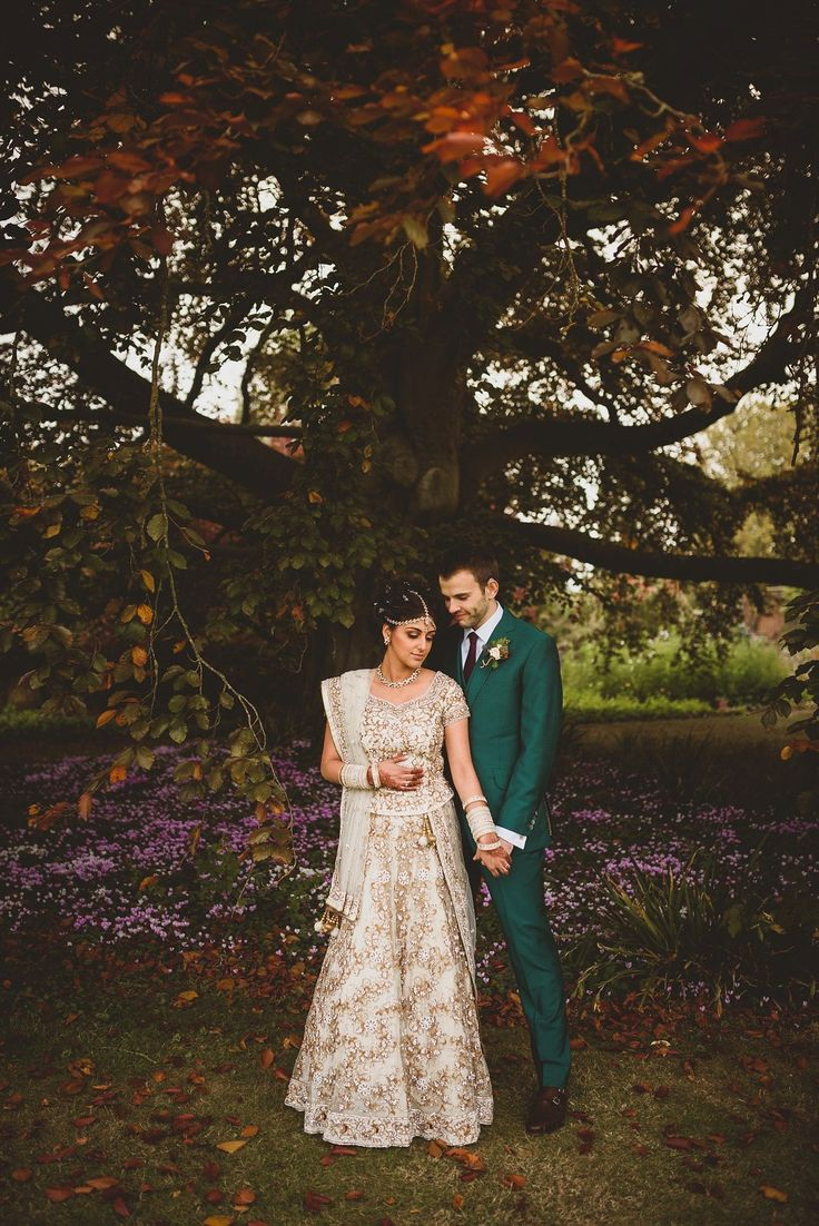 Bride and Groom from an Autumnal Anglo-Indian fusion wedding in the Cotswolds. Photography by http://www.jacksonandcophotography.com/