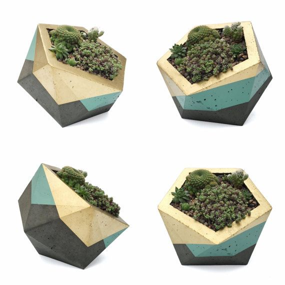Extra Large Icosahedron Concrete Planter - Gold & Sage (with or without drainage holes)