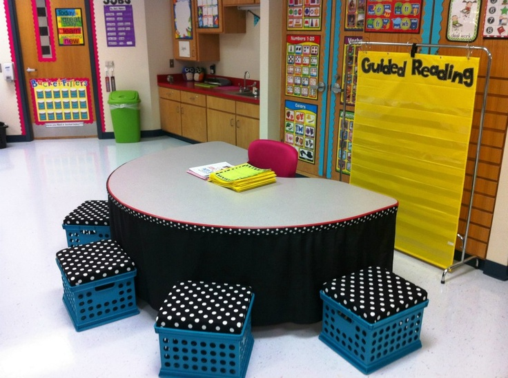 Use sticky-back velcro to attach fabric along the edge of your guided reading table! Perfect for storing things underneath that you don't want to be seen.