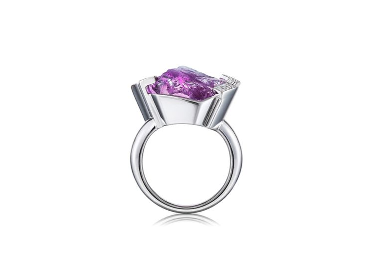 Ring with a Raw Amethyst