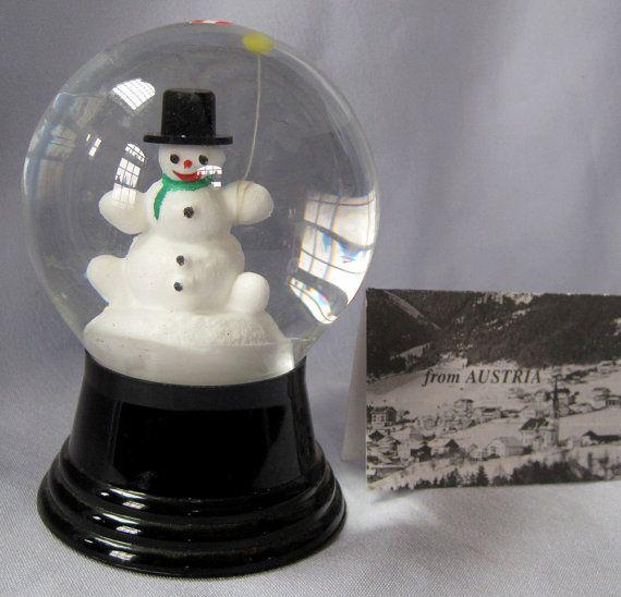 Vintage Austrian Perzy Glass Snowglobe Snowdome Snowman with BalloonTop Hat