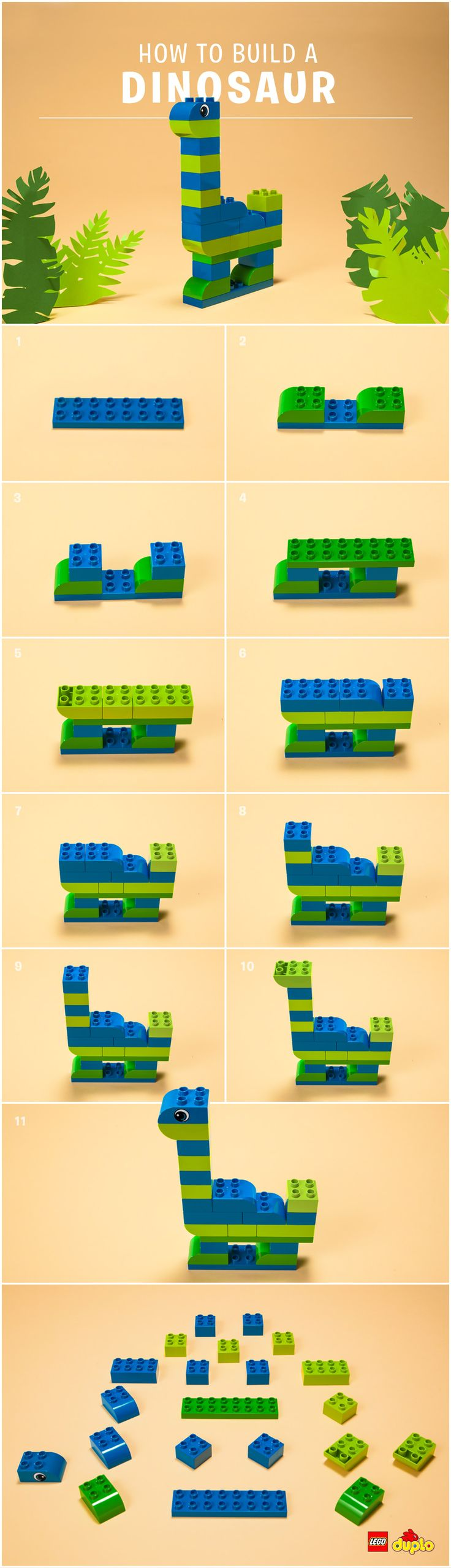 ROAAAR! Is your little one obsessed with dinosaurs? Here are some instructions on how to build your very own long necked dino friend. Check out our instructions here: http://www.lego.com/en-us/family/ (Diy Step)