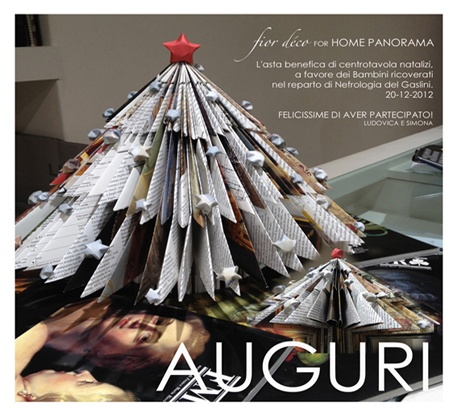 MERRY XMAS with our folded xmas tree.  A paper folded centerpiece designed for charity auction.