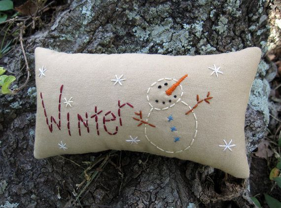 Primitive Winter Snowman Mini Pillow Tuck by WickedlyCreative