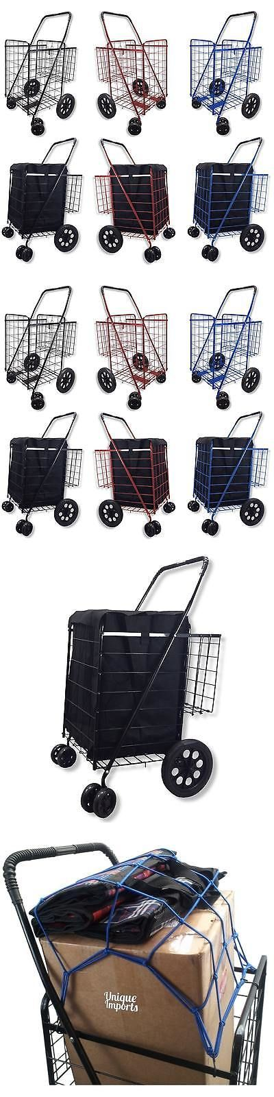 Laundry Bags 43516: Black Folding Double-Basket Shopping Cart With Swivel Wheels And Blue Liner -> BUY IT NOW ONLY: $47.99 on eBay!