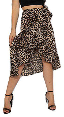 b0e4c774af08 Mesdames Cravate imprimé léopard Wrap Volants Midi Jupe à Volants EUR  Taille 34-42 (Imprimé léopard EUR 38 (UK 10))