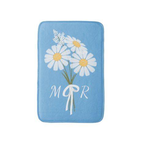 White Daisy Flowers Bouquet Monogram on Blue Bath Mat #kids #childrens #illustrator