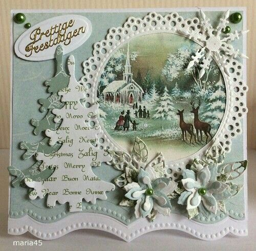 paper doily old christmas card pic old text bits and bobs make new christmas card