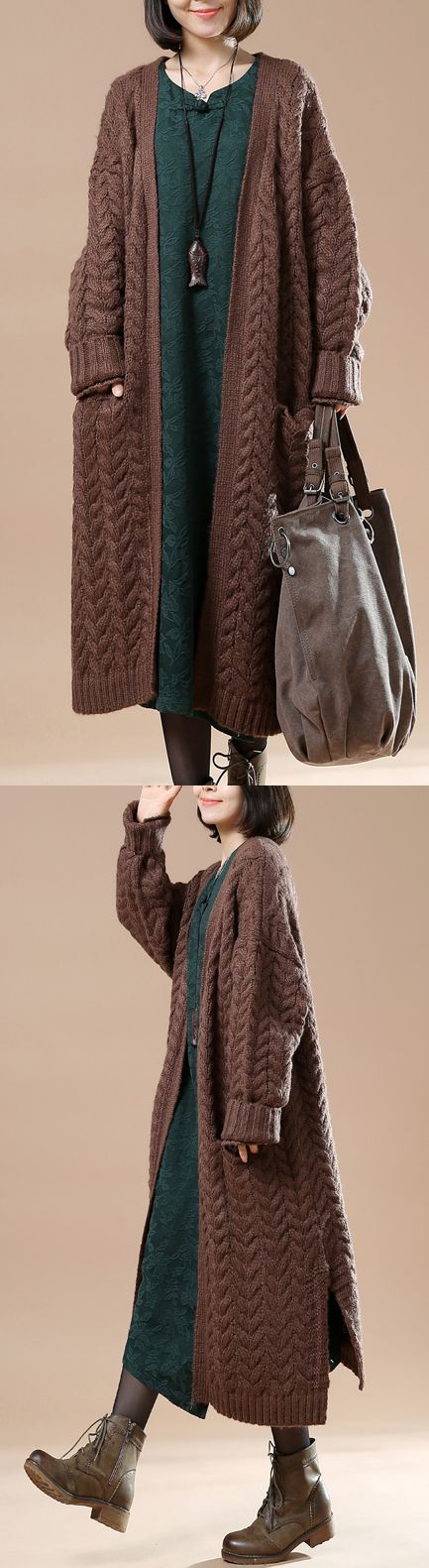 Chocolate cable knit women cardigans plus size sweater coats