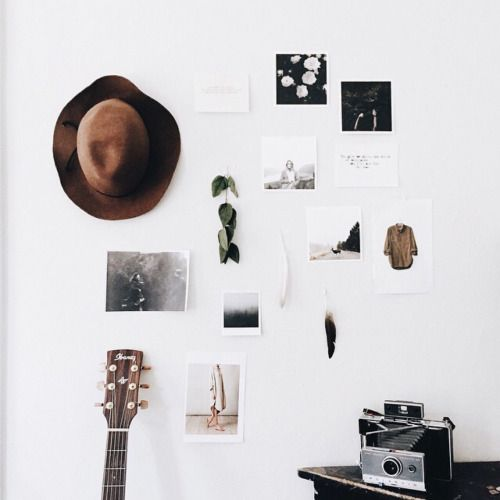 wall decor | minimal | picture decor | boho | hippy | hat hangings | guitar decor | old photos | memory