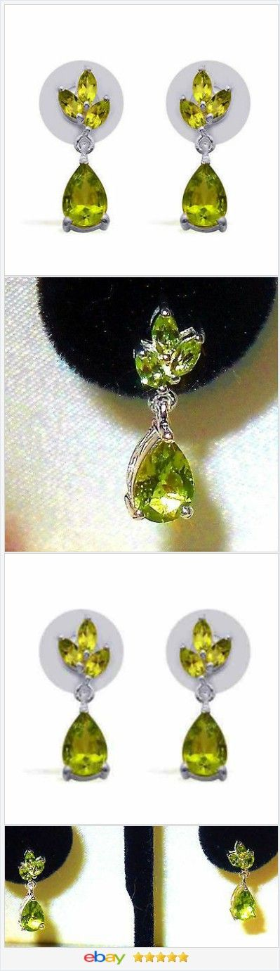 Peridot Dangle Earrings 3.40 carats sterling USA Seller  60% OFF #EBAY #christmasinJuly http://stores.ebay.com/JEWELRY-AND-GIFTS-BY-ALICE-AND-ANN