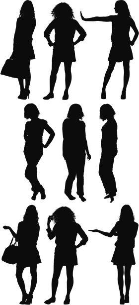 Vectores libres de derechos: Silhouette of women standing