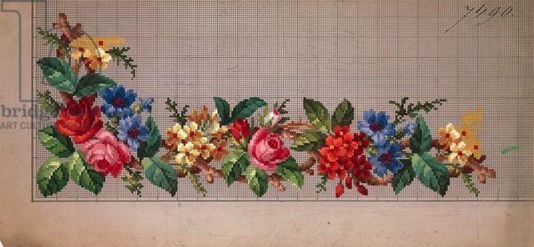 Hem corner design with roses, cornflowers and primulas, 19th century
