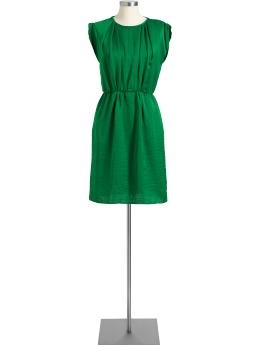 Simple dress begging for a statement necklace and bootsGreen Dress