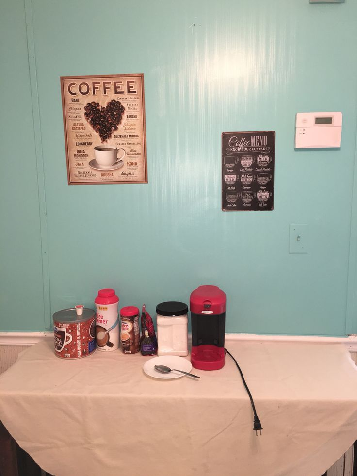 Slowly getting coffee tea station done, fresh paint and tin signs off Amazon.