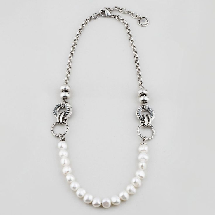 #miglio Perfectly Poetic Necklace - Burnished silver plated necklace with lustrous white freshwater pearls - 50 cm N1585