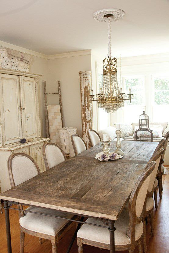 Farmhouse table and french chairs favorite places for Beautiful dining room chandeliers