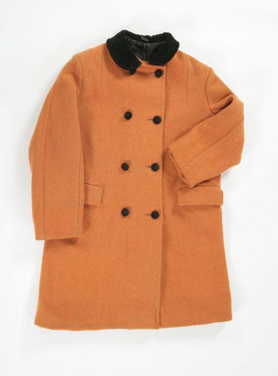 Vintage mustard pea coat. Age 11 by PeachandLoveVintage on Etsy, £45.00