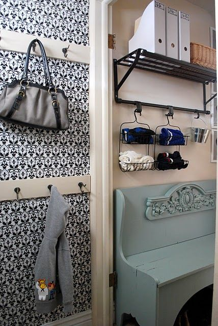 love the bench: Houses, Dollar Stores, Organizations Ideas, Hooks, Mudrooms, Shower Caddy, Mud Rooms, Shower Caddies, Shabby Nests