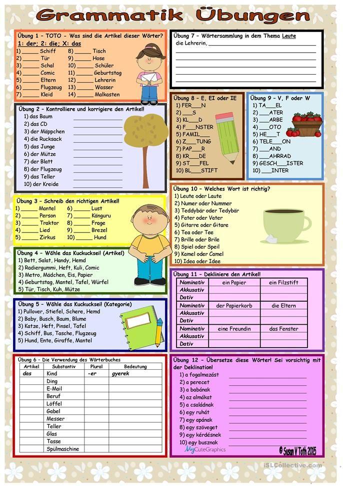 Grammatik übungen Artikel Substantiv 2 Erziehung Grammatik
