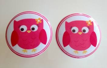 Cute Pink Owl Wooden Drawer Knobs  $5.50