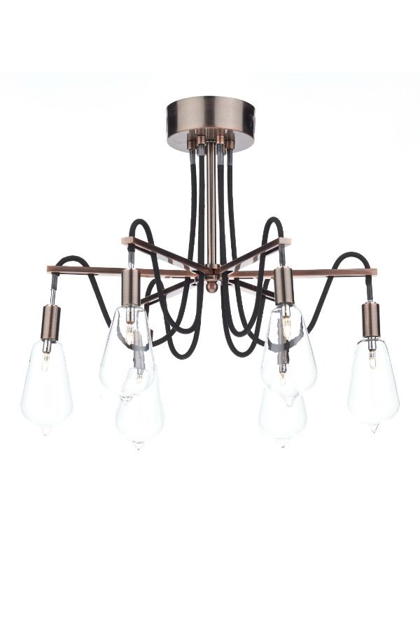 An industrial style 6 light semi ceiling flush light with a black braided cable and a copper finish. Each lamp is set within glass shades to give the effect of vintage light bulbs.