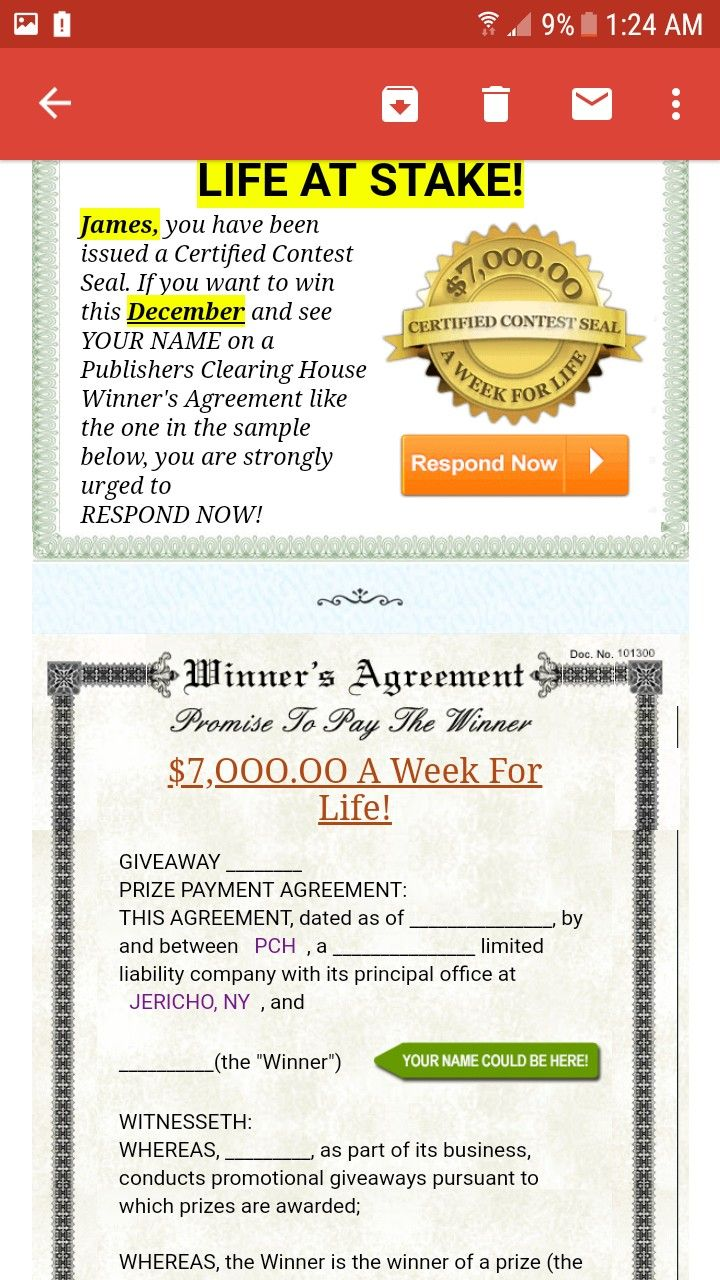 PCH WINNERS AGREEMENT PROMISE TO PAY THE WINNER I ROSA ROJAS